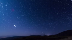 Timelapse movie with stars forming star trails around the Polaris in the north Stock Footage