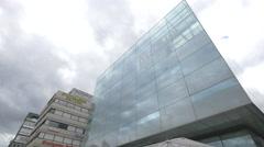 Glass facade of Kunstmuseum, Stuttgart Stock Footage