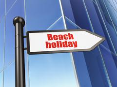Vacation concept: sign Beach Holiday on Building background Piirros