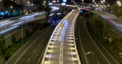 Night scene of traffic and roads.Time Lapse - Long exposure - 4K. (12) - stock footage