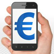 Stock Illustration of Currency concept: Hand Holding Smartphone with Euro on display