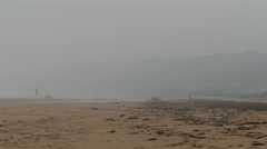 Stock Video Footage of The foggy shore of the Omaha Beach