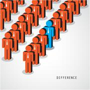 Businessman standing out from the crowd. Business idea and difference concept - stock illustration