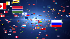 Fly Through Countries Flags Stock Footage