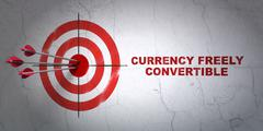 Currency concept: target and Currency freely Convertible on wall background Stock Illustration