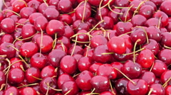 Lots of freshly picked shiney cherries on the basket Stock Footage