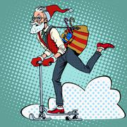 Hipster Santa Claus spreads the Christmas gifts on a scooter sle - stock illustration