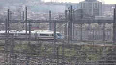 4K Modern high speed train arrive Madrid station infrastructure railway people  Stock Footage