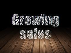 Stock Illustration of Finance concept: Growing Sales in grunge dark room