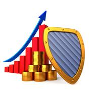 Coins chart and shield - stock illustration
