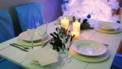 Beautifully decorated table for Christmas Eve - stock footage