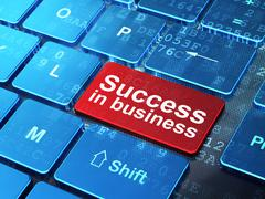 Stock Illustration of Finance concept: Success In business on computer keyboard background
