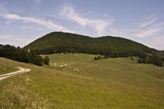 meadow, hill, foot-path and blue sky with few small clouds - stock photo