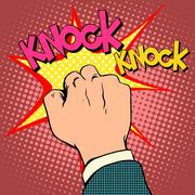 Knock door hand - stock illustration