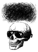 Skull with sun glasses and speech bubble Piirros