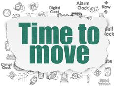 Timeline concept: Time to Move on Torn Paper background - stock illustration