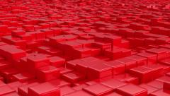 Stock Video Footage of Red cubic surface in motion.