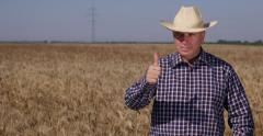 American Farmland Owner Stand Looking Fix Thumbs Up Satisfaction Hand Gestures Stock Footage