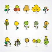 Trendy and beautiful set of flat trees and forest elements. Stock Illustration