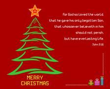 Christmas Holy Bible verse John 3:16 - stock illustration