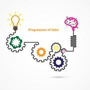 Stock Illustration of Creative light bulb symbol with linear of gear shape. Progression of idea con
