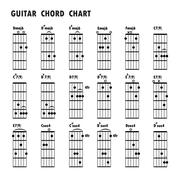 Set of music notes .Abstract musical background. Basic guitar chords ,tab gui - stock illustration