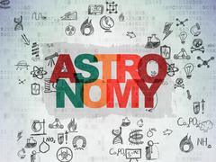 Science concept: Astronomy on Digital Paper background - stock illustration