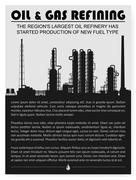 Oil and gas refinery or chemical plant silhouette. Stock Illustration