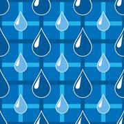 Blue seamless pattern with water drops - stock illustration