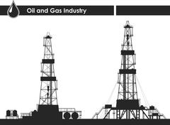 Set of oil rigs silhouettes. Detailed vector illustration isolated on white b - stock illustration
