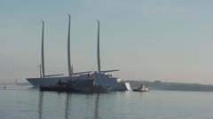 Sayling Yacht A / White Pearl on the Baltic Sea Stock Footage