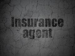 Insurance concept: Insurance Agent on grunge wall background Stock Illustration