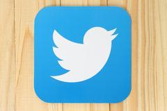 KIEV, UKRAINE - APRIL 30, 2015:Twitter logotype bird printed on paper. Twitte Stock Photos