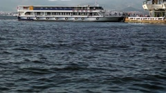 Ship and sea. Tour ship transport of people on the sea. Stock Footage