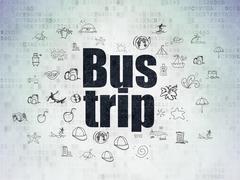 Stock Illustration of Tourism concept: Bus Trip on Digital Paper background