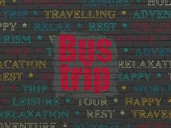 Travel concept: Bus Trip on wall background Stock Illustration