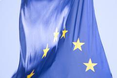 Blue EU flag hanging outdoors in Helsinki, Finland - stock photo