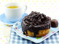 donut-cronut with chocolate flavor selective focus delicious sweet dessert - stock photo