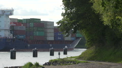 Container Vessel in Kiel Canal. - stock footage
