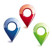 Glossy location symbols - stock illustration