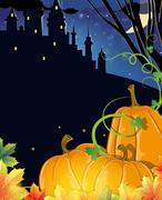 Pumpkins near the old haunted castle - stock illustration