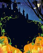 Pumpkins with leaves and old haunted castle - stock illustration