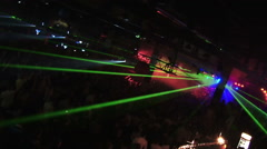 Big party. Laser show. Smooth zoom camera Stock Footage