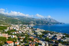 Top view of resort town of Becici on Adriatic coast, Montenegro - stock photo