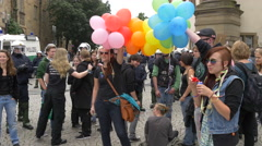 Balloons and soap bubbles at Guy Pride in Stuttgart Stock Footage