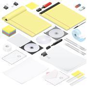 Office stationery detailed isometric icon set Stock Illustration
