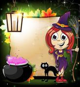 Halloween witch with a cauldron and black cat Stock Illustration