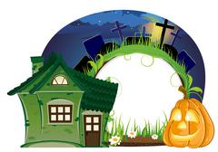 House and Jack o lantern Stock Illustration
