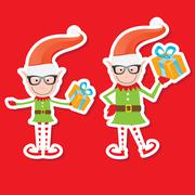 Illustration of the playful Santa elves Stock Illustration