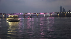 Boats On The Han River With Nighttime Light Show Bridge Stock Footage
